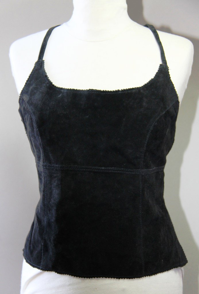 Black Suede Leather Sexy Open Back Camisole Singlet Canotta tank top Sz S
