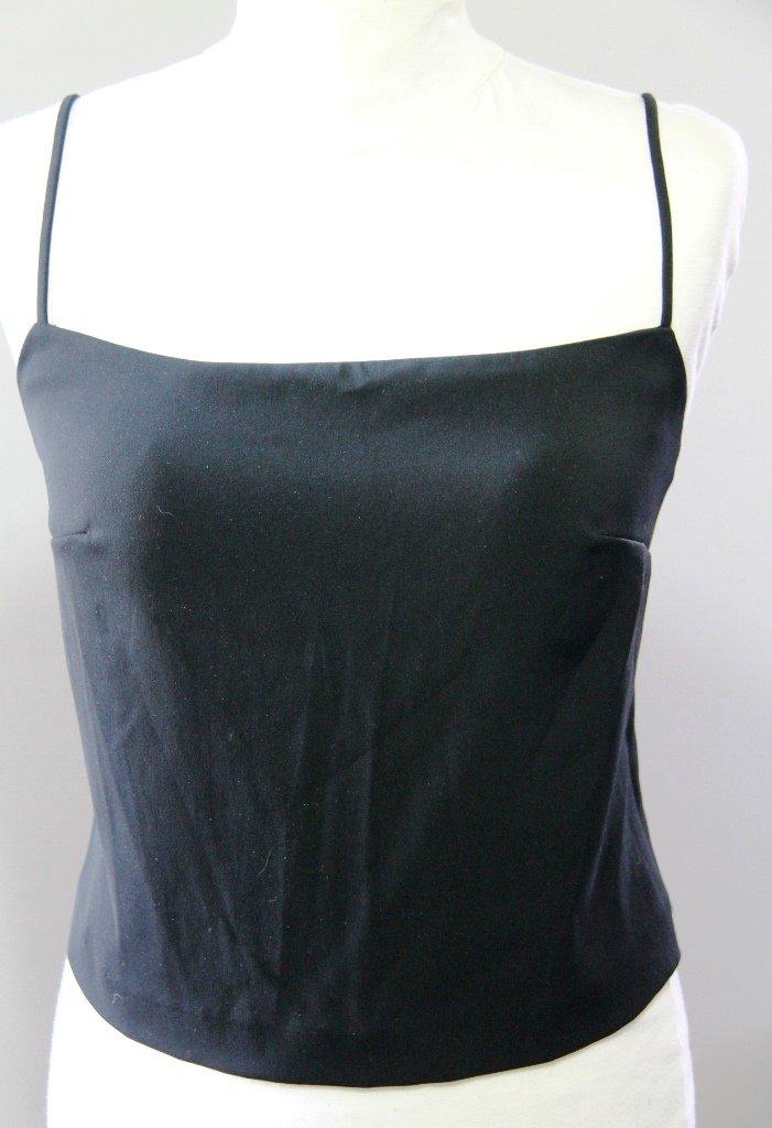 MANGO Black Sexy Open Back Camisole Spagetti Straps Singlet Canotta tank top Sz S