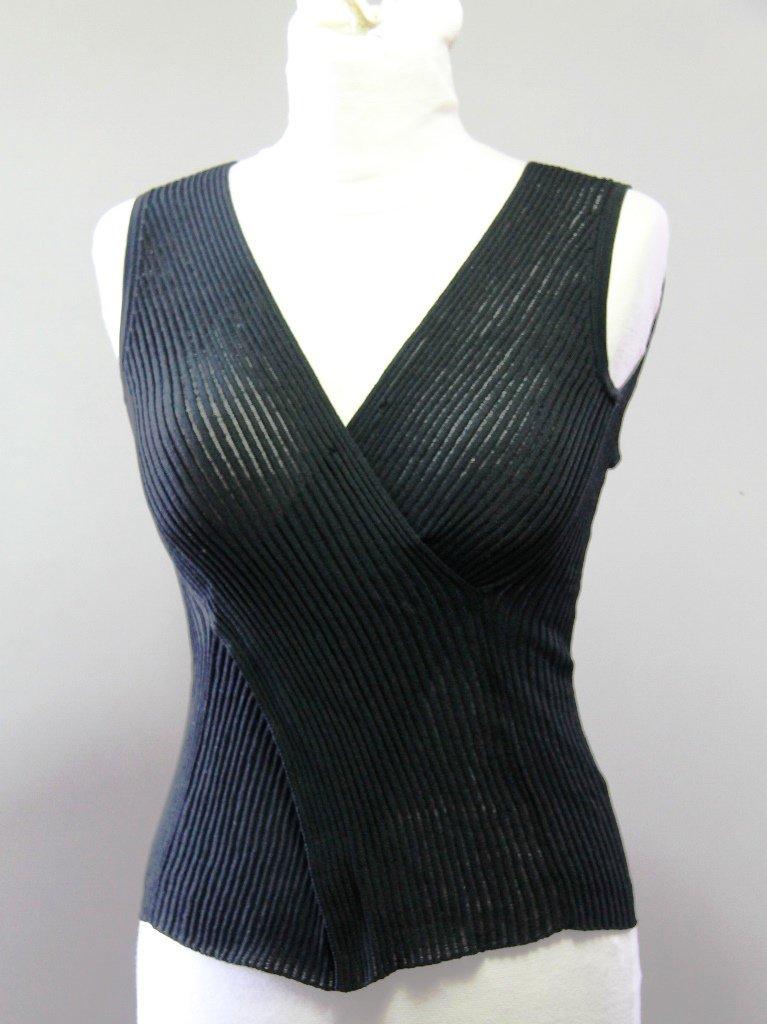 CASSIDI Sleeveless Black Knitwear V-neck Envelope Shirt Canotta tank top Sz 2