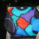 Circa 1980s 78% Mohair Sweater Royal Blue Turquoise Red Black Size M