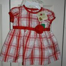 3-6 month - Red, White and Silver Dress with Red Flower