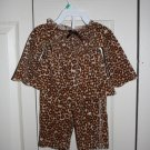 3-6 month - Velour Leapord Print Pants and Shirt