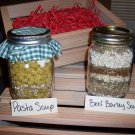 Beef Barley and Pasta Soup Mixes in Wooden Crate (2 soup mixes)