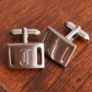 Marlon Brushed Silver Cufflinks - Free Personalization