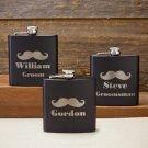 Black Matte Mustache Flask - Free Personalization