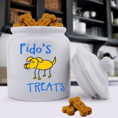 Ceramic Dog Treat Jar - Free Personalization