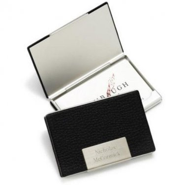 Black Leather Business Card Holder - Free Personalization