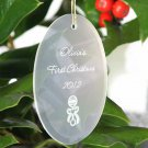 Beveled Glass Ornament-Oval Shaped - 15 Design Choices - Free Personalization