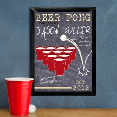 Beer Pong Traditional Sign - Free Personalization