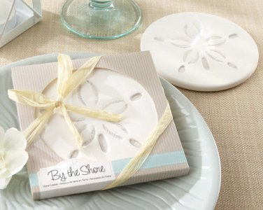 """By the Shore"" Sand Dollar Coaster  (Set of 24) - Free Personalization"