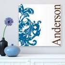 Blue Fleur-de-Lis Family Canvas Print - Free Personalization