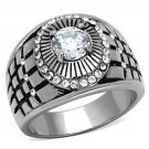 Stainless Steel Mens Fashion Ring w/CZ's