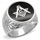 Stainless Steel Top Grade Crystal Masonic Ring White Masonic Ring w/Black 1 CZ