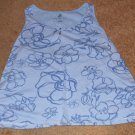 Avenue Blue Flower Pattern Ultimate Tank Top Size 30/32 - 100% Cotton