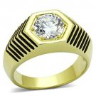 Gold Stainless Steel 2 Tone Solitaire Ring