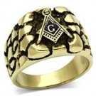 Gold Stainless Steel Masonic Nugget Ring
