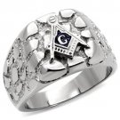 White Gold Plated Stainless Steal Masonic Nugget Ring