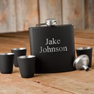 Matte Black Flask & Shot Glass Gift Box Set - Free Personalization