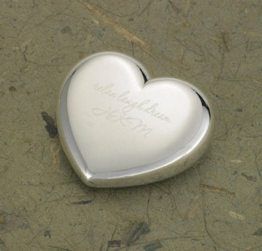Light-Hearted Love Silver Plated Heart Paper Weight - Free Personalization