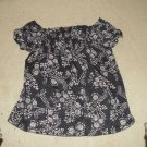 Dark Blue Blouse Flowery Design - Size Large by GNW  100% Cotton