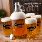 Personalized Mustache Growler Set - 5 Mustache Image Choices