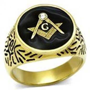 Gold Top Grade Crystal Masonic Ring