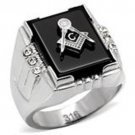 Stainless Steel Square Onyx Masonic Ring with 6 CZ Stone