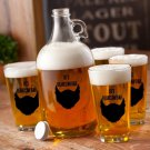 Personalized Printed Spade Beard Growler Set