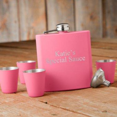 Matte Pink Flask & Shot Glass Gift Box Set