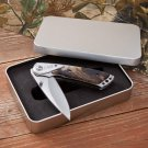 Camouflage Lock-Back Knife in Tin Case - Free Engraving