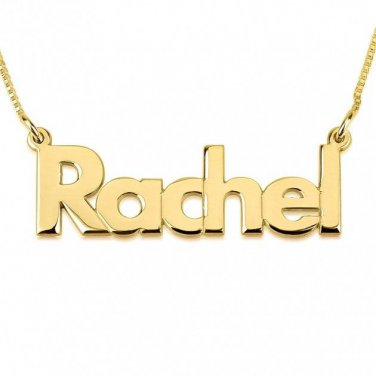 24K Gold Plated Bold Print Name Necklace