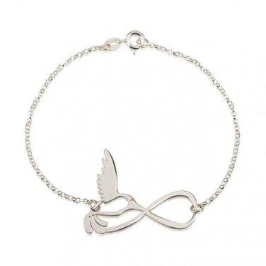 Sterling Silver Infinity Bird Bracelet