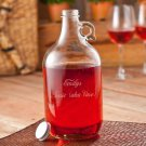 Engraved Growler with two wine glasses - Free Personalization