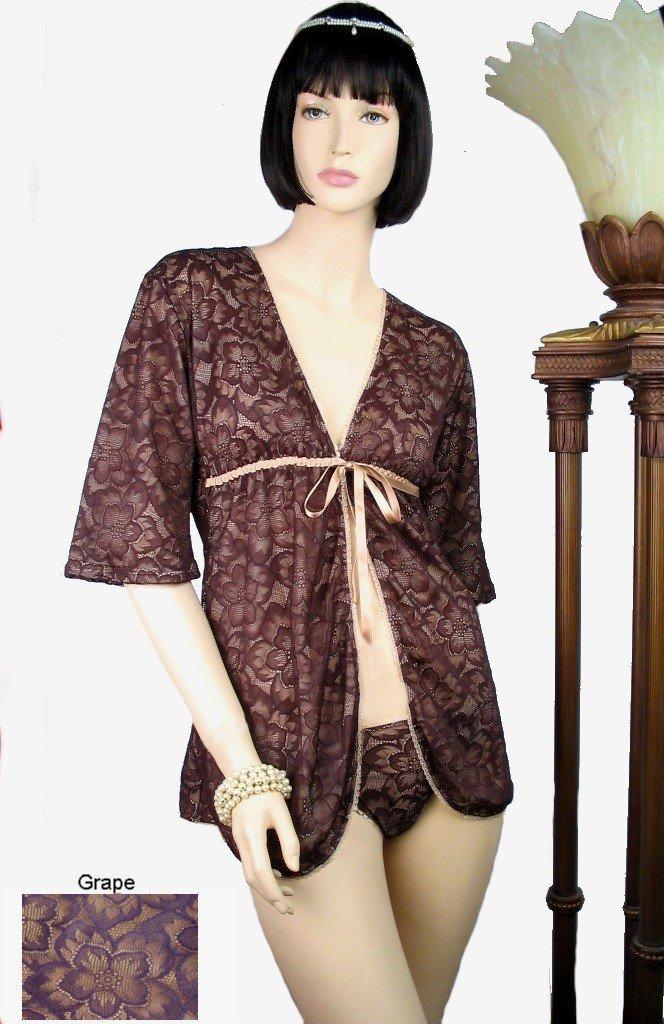 Belabumbum Fleur Lace Short Fully Lined Wrap Robe M/L (Cafe)