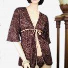 Belabumbum Fleur Lace Short Fully Lined Wrap Robe S/M (Grape)