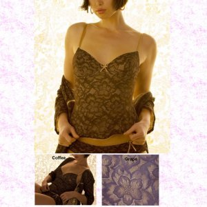 BELABUMBUM FL05 Fleur Lace Lounge Underwire Corset Cami L Grape