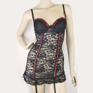 $30 New Padded Plunge Cups Lace Babydoll Garter Chemise Panty Set XS S Black Red