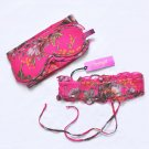 $199 New SPOYLT Flirtation Vintage Floral Silk Blindfold and Leg Garter Set Pink