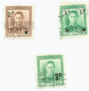 New Zealand Scott #242,243,279 3 Vars. Used Stamp