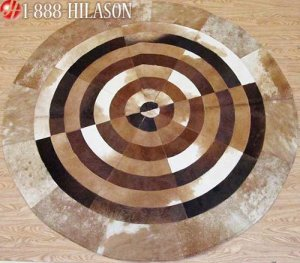 Hair-On Leather Patchwork 58in. Cowhide Rug Carpet 037