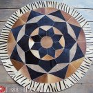 631 COWHIDE HAIR-ON LEATHER PATCHWORK RUG 48IN DIA