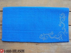 Bling Western Saddle Blanket Pad Wool Show Rodeo Blue