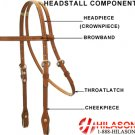 WESTERN LEATHER TACK HORSE BRIDLE HEADSTALL & REINS 017