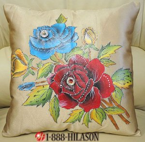 New Hand Painted Crystal Cushion Pillow Cover Set of 2