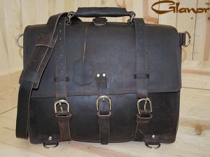 Rustic Vintage Leather Briefcase Backpack Laptop Bag L