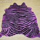 ZEBRA PRINT HAIR ON LEATHER BRAZILIAN COWHIDE RUG 525