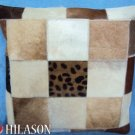 PL438 Hilason Cowhide Leather Hair-On PatchWork Cushion Pillow Cover