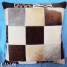 PL231 Cowhide Leather Hair-On PatchWork Cushion Pillow Cover