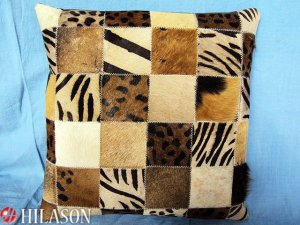 PL224 Cowhide Leather Hair-On PatchWork Cushion Pillow Cover