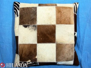 PL219 Cowhide Leather Hair-On PatchWork Cushion Pillow Cover